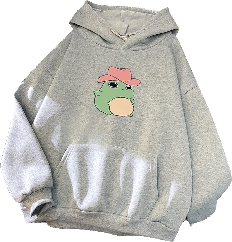 Eduavar Sweatshirts for Women,Womens Teen Girls Fashion Frog Printed Long Sleeve Hoodies Pullover Sweatshirt Blouse Tops