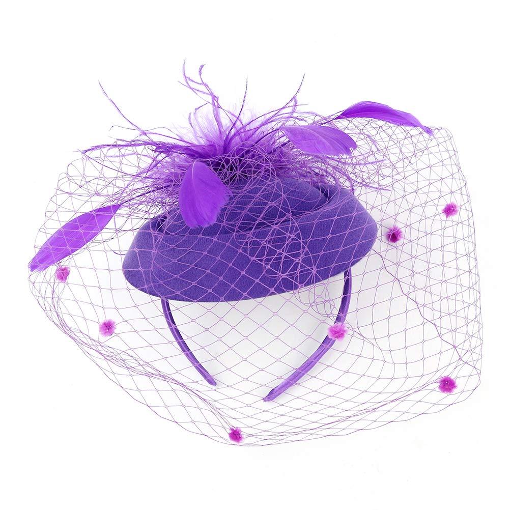 LEORX Fascinators Headband Feather Veil Tea Party Hats Vintage Fascinators Hair Accessories for Wedding Party (Purple)