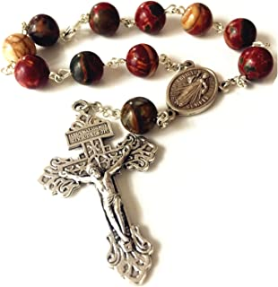 elegantmedical Picasso Stone Beads Catholic Prayer one Decade Rosary Bracelet Pardon Cross Gift