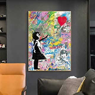 Canvas Graffiti Painting Decorative Painting Without Frame,Little Girl Abstract Personality Mural Decor Poster,Wall Decora...