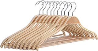 JS HANGER Solid Wooden Light Weight Coat Shirt Suit Hangers with Non-Slip Pant Bar, 10-Pack, Natural Finish