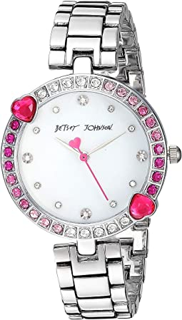 BJ00704-01 - Heart Stone Bezel & Silver Bracelet Watch