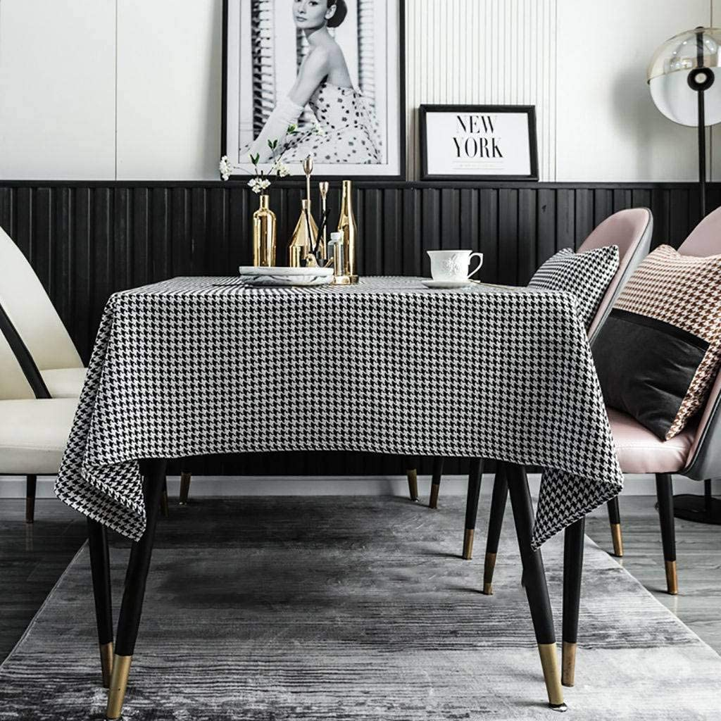 JHLD Rectangular Tablecloth Black and Houndstooth (訳ありセール 格安) 上品 White Tableto