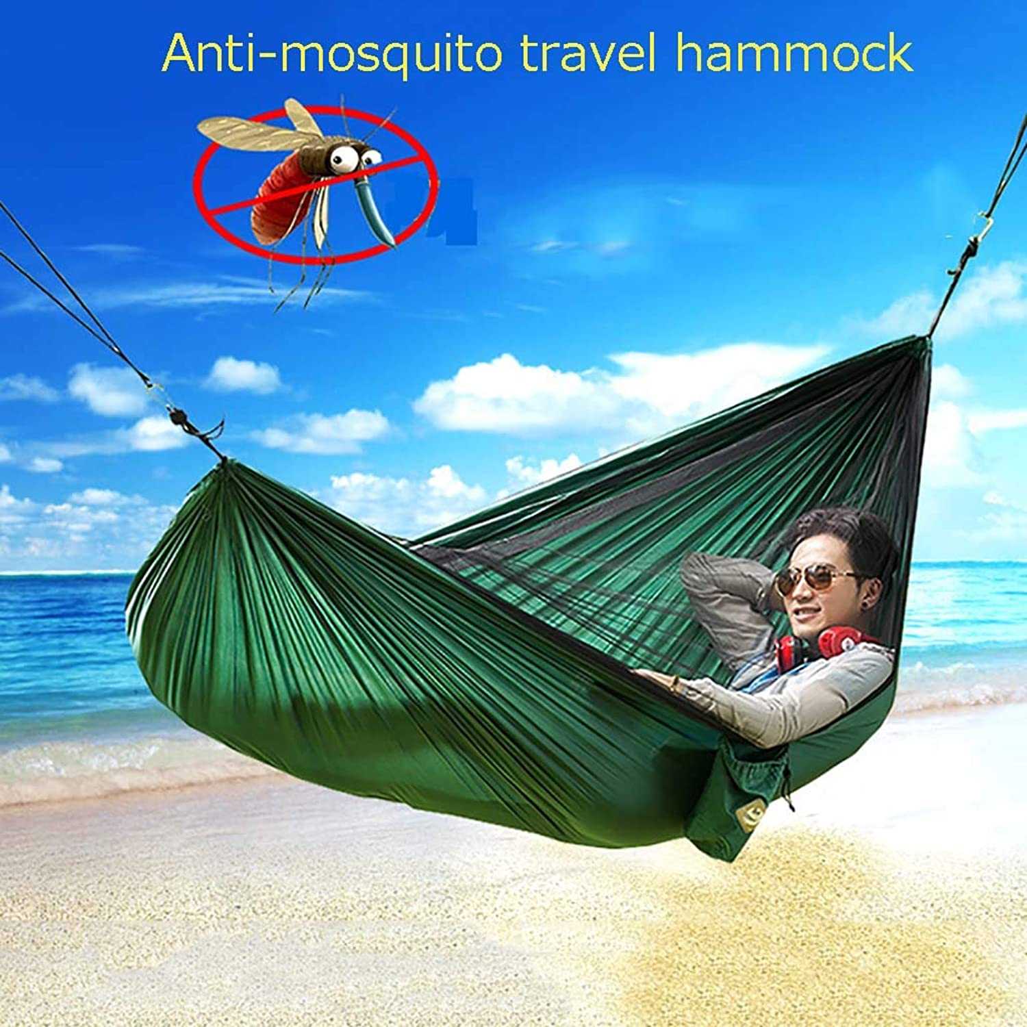 Camping Hammock,Double Parachute Hammock,with Mosquito Nets Breathable QuickDrying Portable for Outdoor Travel Hiking