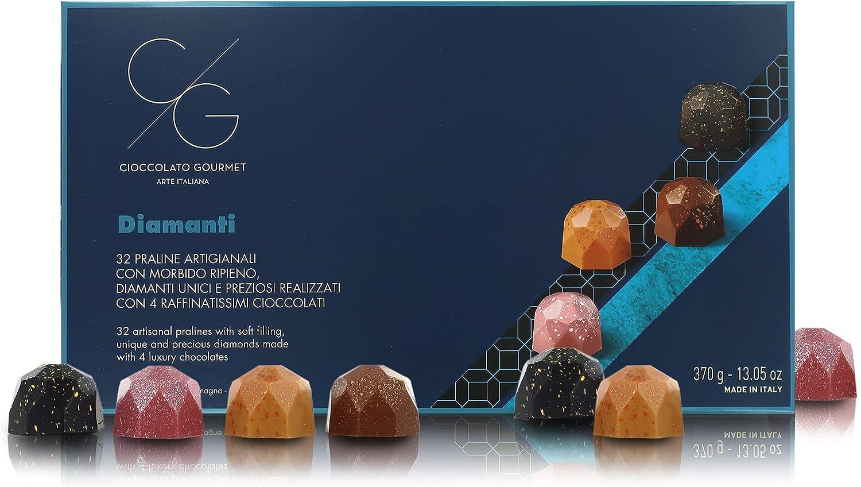 Caja de 32 Bombones Artesanales con Forma de Diamante, Relleno Cremoso, 4 Tipos Diferentes de Chocolate Gourmet, en Caja Regalo