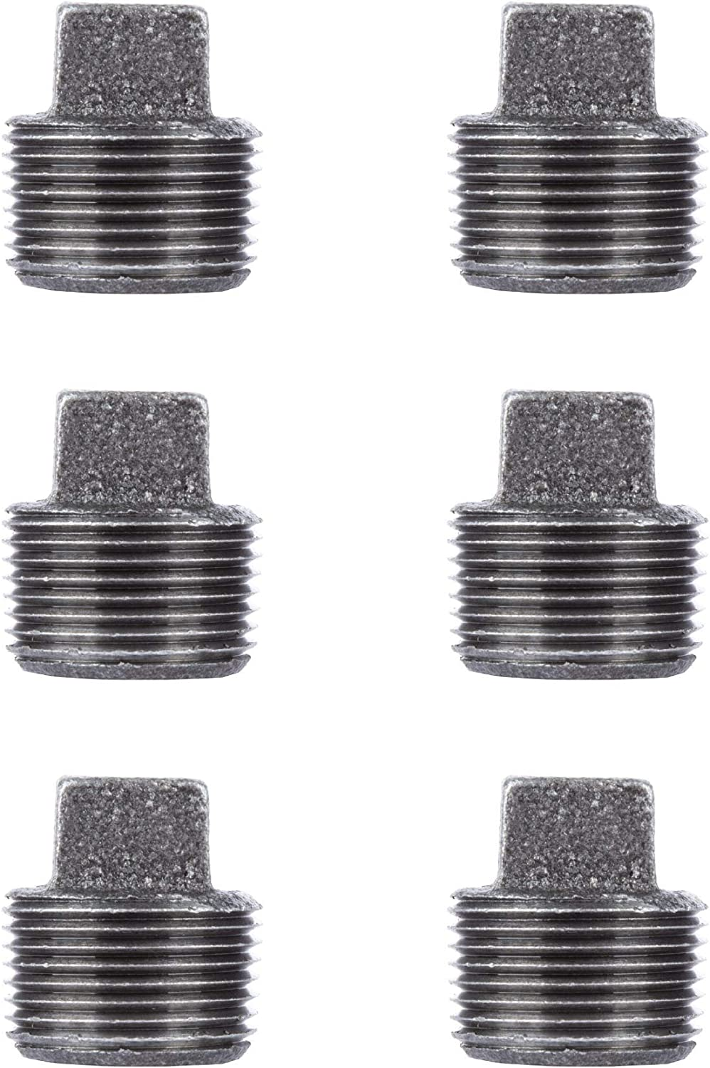 PIPE DÉCOR 1 in. Black Malleable Iron Plug, 6 Pack, for DIY Pipe Furniture Building and Regular Plumbing Applications