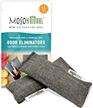 MOSO NATURAL: The Original Air Purifying Bag for Shoes, Gym Bags and Sports Gear. an Unscented, Chemical-Free Odor Eliminator (Charcoal) 2 Pack