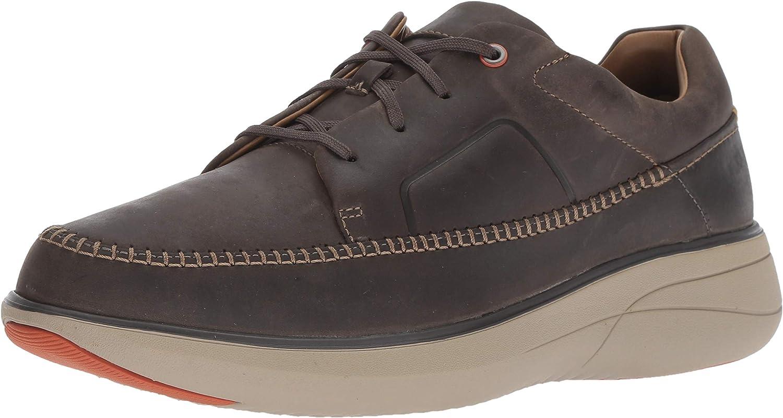 CLARKS Men's Un Rise Lace Sneaker, Dark Grey Leather, 110 M US
