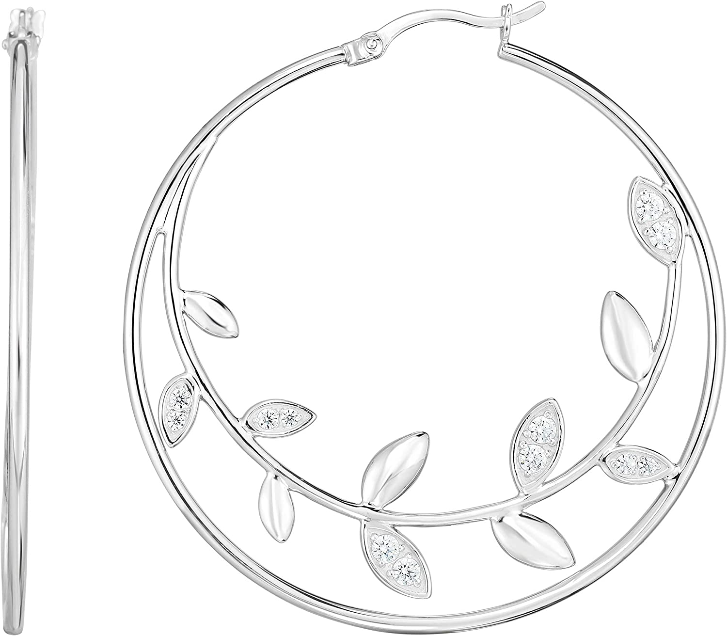 Silver with Rhodium Finish 1.5x49x48mm cheap Selling rankings Earring Polished Hoop wit