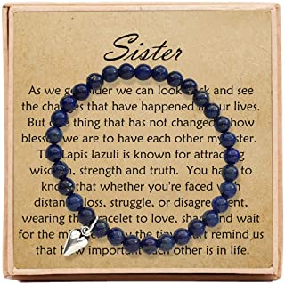 OFGOT7 Sister Jewelry BFF Friendship Bracelets for Women Birthday Christmas – Bead Bracelet with Message Card & Gift Box - Sister Gifts from Sister
