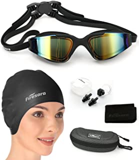 Firesara Swim Cap Swim Goggles, 3D Ergonomic Silicone...