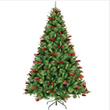 WSJTT Seasonal Décor Christmas Trees Artificial Christmas Trees Green Mixed Artificial Spruce Articulated with Red Pine Co...