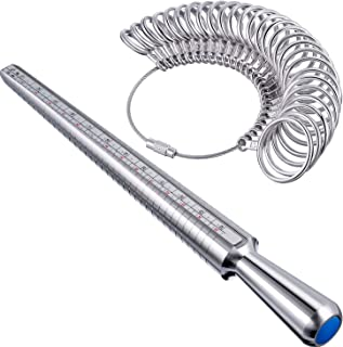 Mudder Aluminum Ring Mandrel Sizer Finger Sizing Measuring Stick - Size 1-13, with Ring Sizer Gauge Set of 27 Pcs