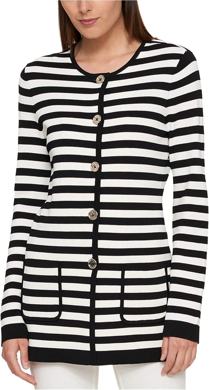 Tommy Hilfiger Women's Striped Sweater Coat (M, Black/Ivory)