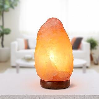 Lámpara de sal rosa del Himalaya 3 – 4 kg con cable CE de dos polos con interruptor y bombilla de 15 W incandescente de luz amarilla incluida