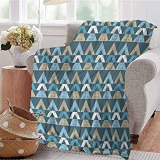 KFUTMD Throw Blanket Horizontal Borders with Sketchy Triangle Shapes Retro Scribble Art Tribal Pattern Multicolor Bed Sleeping Travel Pets Reading W59 xL71