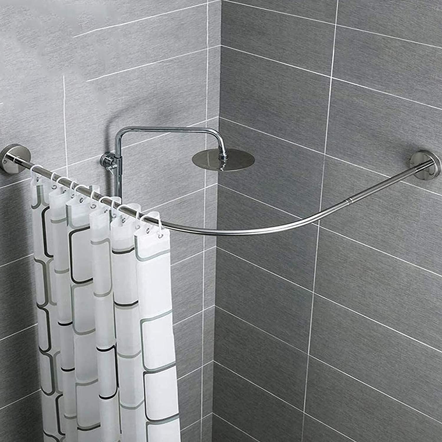 Shower Curtain Rod Curved Mesa Mall Tension No B online shop Drill