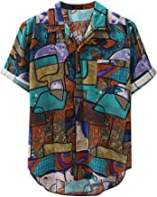 Berimaterry Funky Camisa Señores Manga Corta Bolsillo Delantero Impresión de Hawaii Playa Hawaiana para Hombre Casual Camisas Verano Unisex 3D Estampada Funny Shirt Raya Bohemia
