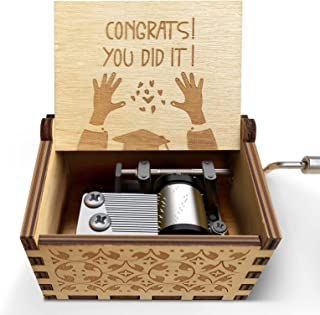 Graduation Gifts Inspirational Engraved Wooden Music Box - Congrats You Did It - 2021 Personalized Graduate Musical Box Fr...