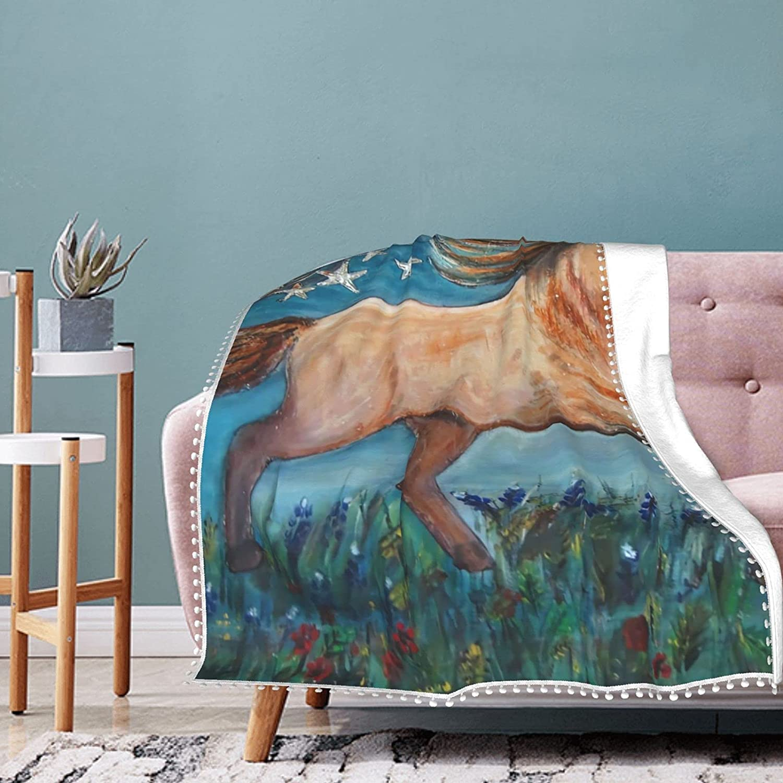 mengmeng Mantas de franela de forro polar, diseño de caballo con bandera americana, supersuaves, mullidas y cálidas mantas para sofá manta de microfibra de 152 x 127 cm