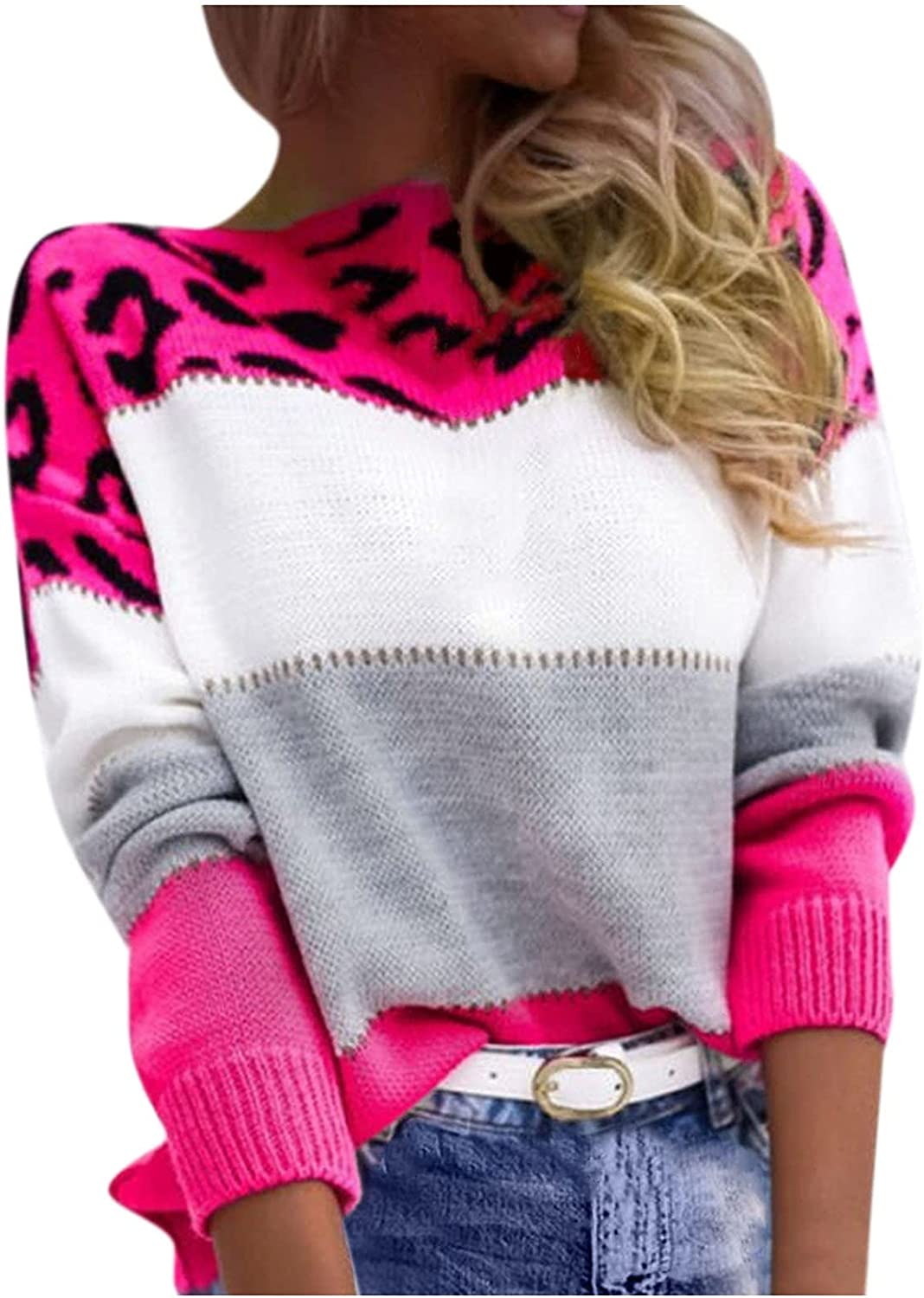 Women Sweater Tops Leopard Print Colorblock Long Sleeve Crew Neck Pullovers Casual Loose Fall Jumpers Blouse