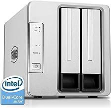 TerraMaster F2-221 Caja de Servidor NAS 2 bahías Intel Dual Core 2.0GHz 2GB RAM Plex Media Server Almacenamiento en Red(Sin Discos)