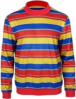 Rainbow Stripe Shirt Blue Denim Overalls Halloween Cosplay Full Set Costumes
