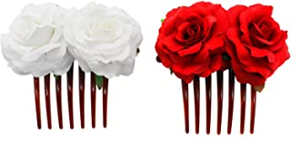 Buorsa 2Pcs Bridal Rose Flower Hair Comb Flamenco Dancer Hair Piece for Lady Women Girls,White & Red