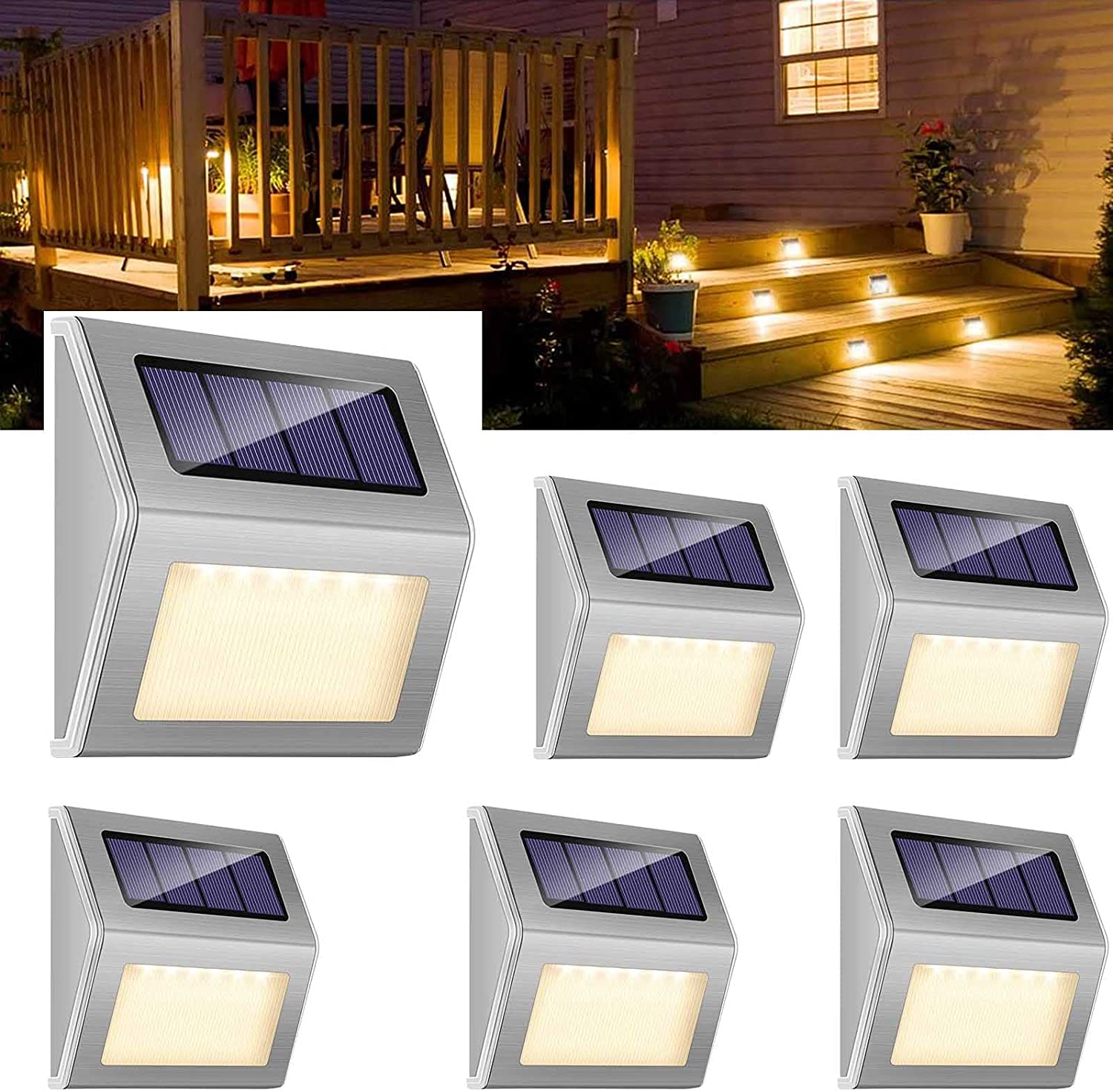 6 Miami Mall Pack Solar Deck Sale item Lights Warm LED Ou Stair White