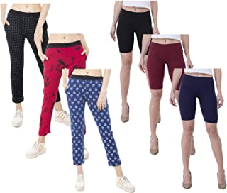 IndiWeaves Women's Combo Pack of Solid Cycling Short and Printed Lower (Pack of 6)