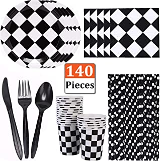 MeiMeida Race Car Party Supplies Racing Birthday Party Tableware for 20 Guests | Black and White Checkered Dessert Paper Plates, Cups, Napkins, Straws, Plastic Knife Fork Spoon Dinnerware Set Bundle Pack