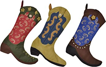 AIJIAO 18 Inches Western Cowboy Boot Christmas Stocking Gift Kids Fireplace Decor with Embroidered Pattern (Pack 3pcs)