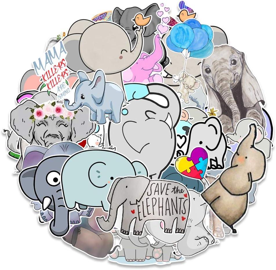 50 PCS Cute Elephant Laptop Stickers for Decoration, Waterproof Kawaii Elephant Sticker Pack for Kids, Girls, Vinyl Decals Animal Stickers for Water Bottles, Skateboard, Luggage, Album, Scrapbook