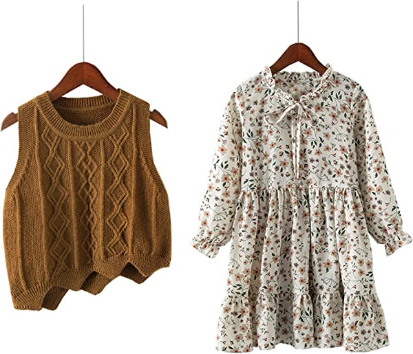 3 12 Yrs Baby Girls Long Sleeve Dress Knit Vest Dress Print 2 Piece Sets Children Dresses 2019 New Winter Spring Kids Costume Brown 4T