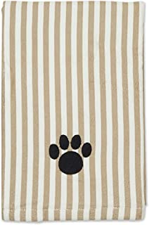 Bone Dry Pet Drying Collection Embroidered Terry Microfiber, Pet Towel X-Large, 44x27.5, Taupe Stripe