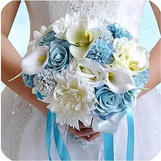 ramo de Novia Artificial Flower Rose Wedding Bouquet Bridal Holding Flowers Bridesmaid Bouquet Handmade Brooch Accessories,Blue