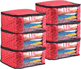 PrettyKrafts Saree Cover Set of 6 Prints Big Size/Wardrobe Organiser/Cloth Cover_Red