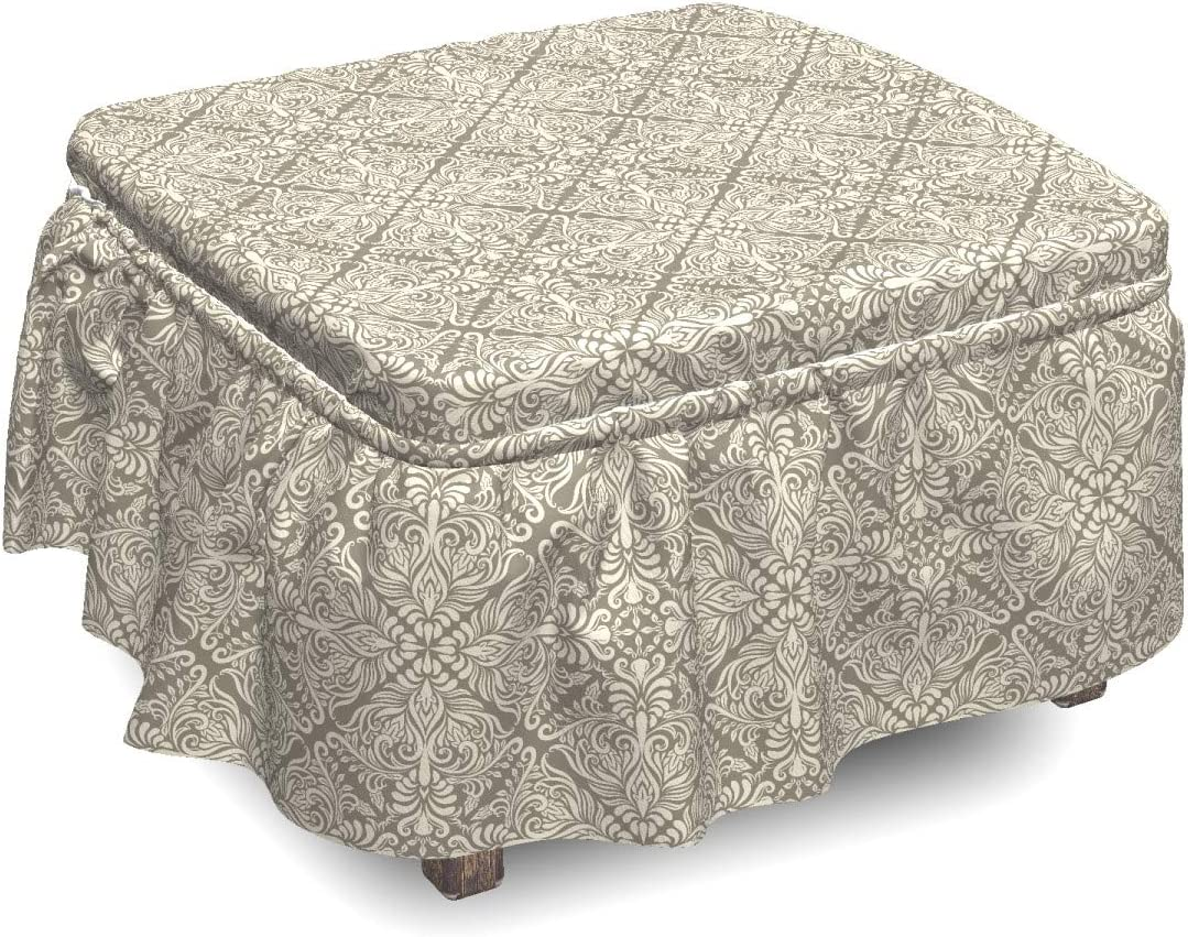 Ambesonne Vintage Regular store Ottoman Cover Floral Piece 5 ☆ very popular Damask 2 Slipcove