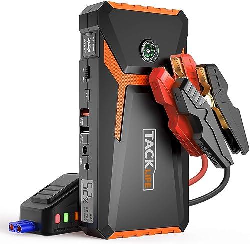 AsperX 1000 A Peak 18000 mAh D/émarreur de Voiture avec USB Quick Charge 3.0 Batterie Portable 12 V Chargeur de t/él/éphone avec Lampe Torche LED et Boussole jusqu/à 7,5 L /à gaz ou Moteur Diesel 5,5 l