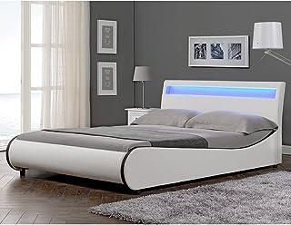 Corium Lit Double Rembourré Éclairage LED Integré Sommier à Lattes 140 x 200 cm Housse Similicuir Blanc Noir