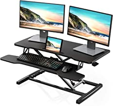 """FITUEYES Height Adjustable Standing Desk 36"""" Wide Sit to Stand Converter Stand Up Desk Tabletop Workstation for Dual Monitor Riser SD309101WB"""