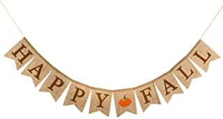 Whaline Happy Fall Pumpkin Burlap Banner Harvest Home...