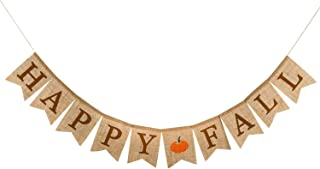 Whaline Happy Fall Pumpkin Burlap Banner Harvest Home Decor Bunting Flag Garland Party..