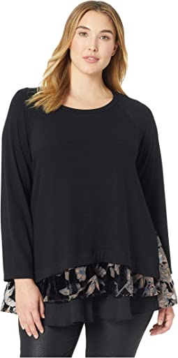 Plus Size Burnout Velvet Inset Sweater