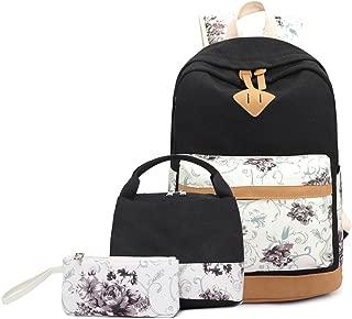 Abshoo Lightweight Canvas Cute Girls Bookbags for School Teen Girls Backpacks with Lunch Bag, Floral Black Set (Black) - BP5G1B1