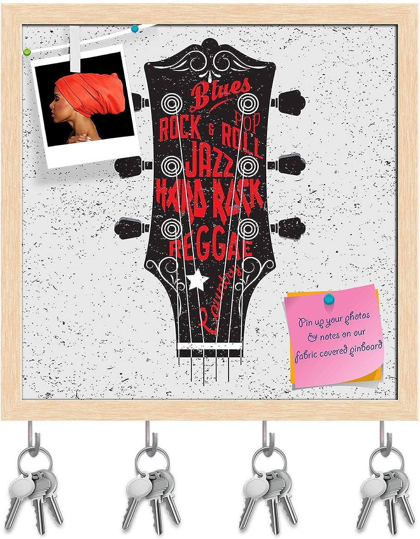 Artzfolio Guitar Head Key Holder Hooks   Notice Pin Board   Natural Brown Frame 20 X 20Inch