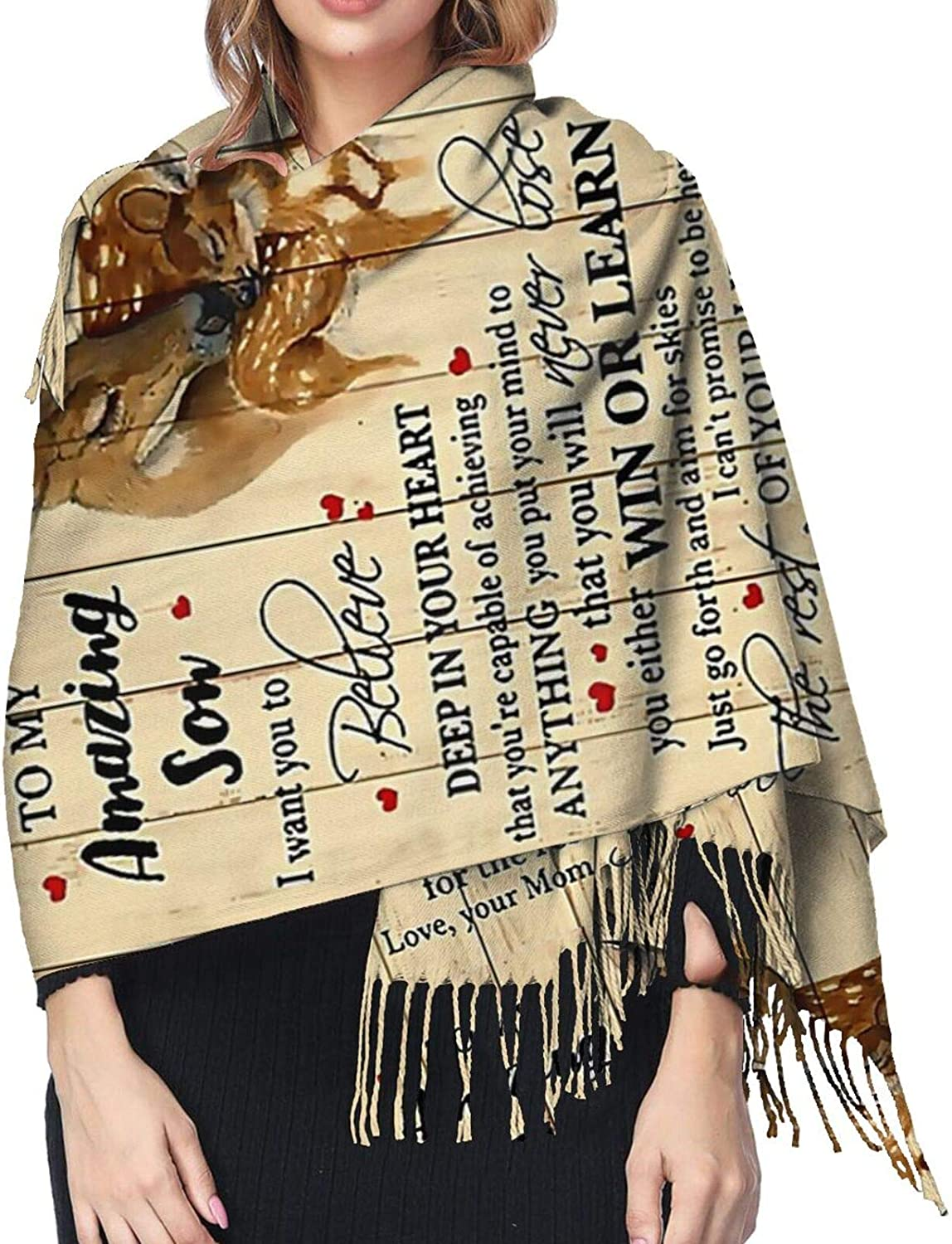 To My Amazing Son Deer Cashmere Feel Scarf Lightweight Soft Scarfs For Boys Girls Creative Warm Cold Weather Blanket Scarf