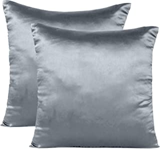 Oussum Decorative Sofa Cushion Covers Throw Cushion Pillow Cover Satin Pillow Case for Home Decor (Steel Gray, 12 x 12)