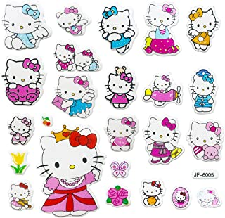 Disbch 3D Stickers for Kids & Toddlers 400+pcs Vinyl Skateboard Guitar Travel Case Sticker Door Laptop Luggage Car Bike Bicycle Stickers (Hello Kitty)