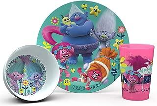 Zak Designs TROG-0391-B Trolls Movie Kids Dinnerware Sets, 3 Piece